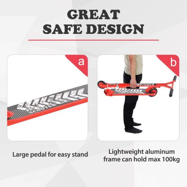 Monopattino per Adulti in Alluminio con Impugnatura Ergonomica Rosso