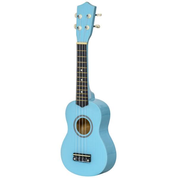Ukulele Soprano in Legno Azzurro con 3 Plettri Accordatore e Corda di Ricambio