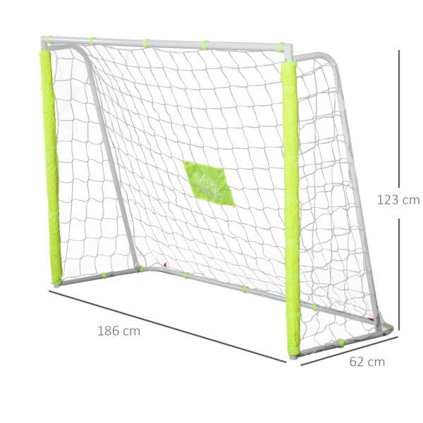 Porta da Calcio per Adulti e Bambini Rete con Bersaglio Centrale e Pali in Tessuto Giallo 186 x 62 x 123cm